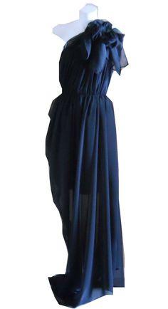 undefined Chiffon Maxi Dress, Designer Dresses, One Shoulder, Vintage, Black, Fashion, Moda, Chiffon Dress Long, Designer Gowns