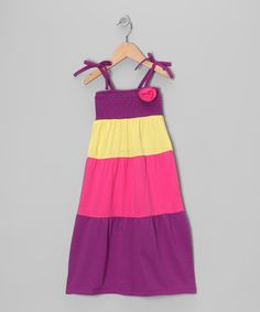Take a look at this Purple & Yellow Stripe Dress - Toddler by Cherry Stix on #zulily today!
