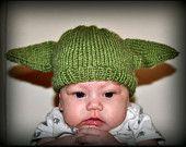 Knit Yoda Hat -- Newborn, Infant, Toddler -- Baby Clothing -- Sci-Fi Geek -- Handmade, Unisex, Washable, Costume, Star Wars