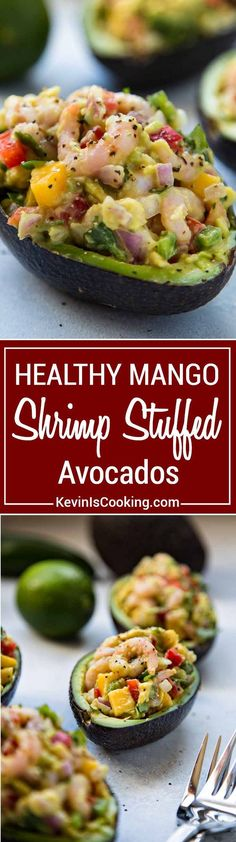 Mango Shrimp Stuffed Avocado - easy, healthy and filled with shrimp, mango and crunchy vegetables, a perfect appetizer or light lunch that's good for you.  via @keviniscooking