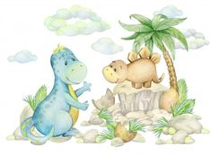 Cute little dinosaur portrait with watercolor effect Panda Illustration, Boat Cartoon, Cute Cartoon, Baby Unicorn, Cute Unicorn, Little Elephant, Baby Elephant, Die Dinos Baby, Baby Raccoon