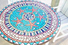 Mosaic Table Starfish Design 42 Inch Custom by JandineenArtworks
