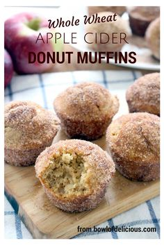 PERFECT for FALL! These melt-in-your-mouth, fluffy, cake-like apple cider donut muffins are brushed with melted butter and rolled in cinnamon and sugar right after they come out of the oven. A special trick makes these muffins super fluffy, yet they are still whole wheat!