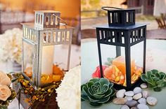 14. Rustic Chic Lanterns…I like the silver setting better    Photo Credit: HeavenlyBlooms & TheKnot