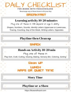 Love this basic homeschool preschool schedule I can customize! It's a perfect way to structure the day for brand new preschool moms. Just pick your preschool activities!