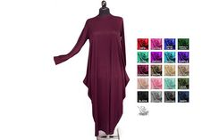 Caftandress abaya casual dress  evening dress casual maxi long sleeve loose in burgundy, COLOR OTPION AVAILABLE