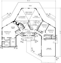 Dream Home Floor plan.  I actually conceived of this home when I was 17.  The main room was 'in the round', but the layout was similar.