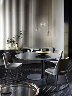 Thea, chair with seat and backrest covered by velvet. Black open pore lacquered wooden legs. - Oto, table