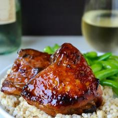 Honey Balsamic Baked Chicken Thighs - Rich chicken without a flour coating. Yum! Follow up after trying the recipe - delicious as the main dish on the first day. As \