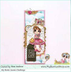 slim line card - colored image with copic markers . Dream Challenge, Cloud Stencil, Friend Challenges, Pink Cards, Hello Ladies, Broken China, Pink Bling, Digi Stamps, Copic Markers