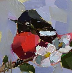 Painted Redstart and Apple Blossoms original bird oil painting by Angela Moulton 5 x 5 inch on panel ship date April 20