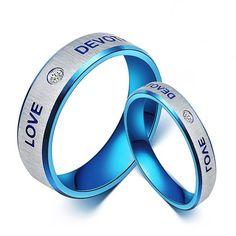 New Fashion Blue Love Titanium Steel Cubic Zirconia Couple Rings   - USD $69.95
