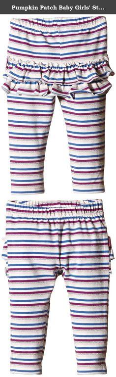 Pumpkin Patch Baby Girls' Stripe Ruffle Back Leggings, Dahlia, 6 -12 Months. Stripe ruffle back leggings.