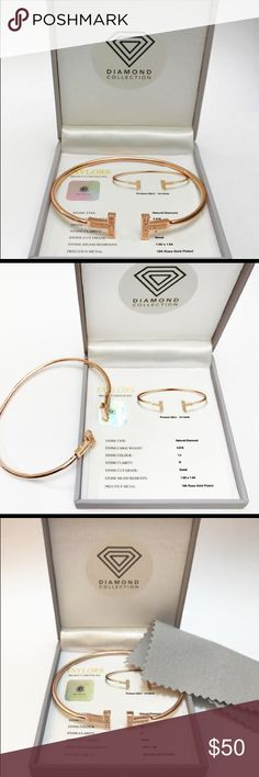 T SHAPED ROSE GOLD FILLED DIAMOND BRACELET NWOT. RARE T Shape Rose Gold Filled & Genuine Diamond Bracelet with Luxury Box Certificate and FREE Jewelry Polishing Cloth. (Came With Blue Cloth)  STONE TYPE: Natural Diamond  STONE WEIGHT: 0.018  STONE COLOUR: I-J  STONE CLARITY: I2  STONE CUT: Good/Polished  STONE MEASUREMENT: 1.05 x 1.04 Jewelry Bracelets