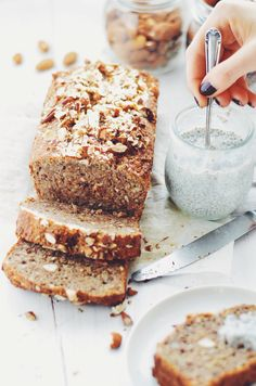 Early morning nonsense talk- triple nut banana bread vegan s Quick Banana Bread, Easy Zucchini Bread, Banana Nut Bread, Banana Bread Recipes, Quick Vegan Meals, Vegan Lunch Recipes, Best Vegan Desserts, Paleo Dessert, Vegan Sweets