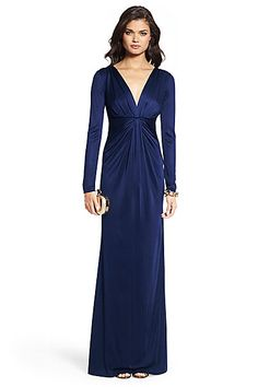 Ruched V-neck Gown in Ink by DVF