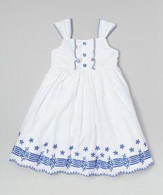 Look at this #zulilyfind! White & Blue Voile Sundress - Girls #zulilyfinds