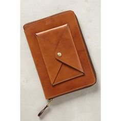 Nappa Dori Stitched Leather iPad Mini Case (2.085 ARS) ❤ liked on Polyvore featuring accessories, tech accessories and brown