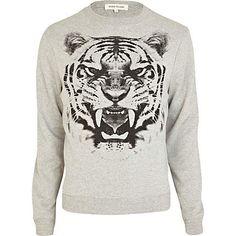 Grey tiger bite print sweatshirt