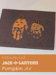 Fall/Halloween Handprint Jack-O-Lantern Pumpkin Art Fingerprint Crafts, Footprint Crafts, Fall Art Projects, Thanksgiving Projects, Craft Activities For Kids, Preschool Crafts, Craft Ideas, Halloween Crafts For Kids, Halloween Kids