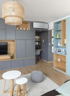 Small Living, Home And Living, Home Interior Design, Interior Architecture, Living Comedor, Modern Kitchen Cabinets, Living Room Tv, Home Furniture, Family Room