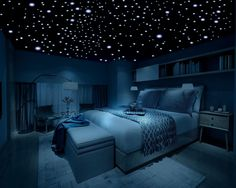 Bedroom with a cool vibe & glow in the dark ceiling stars ✨ #bedroom #interior #bedroominterior