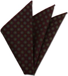 Macclesfield Patterned Wool Challis Pocket Square #5