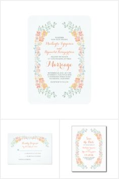 Peach, coral and soft green hand painted watercolor floral wreath wedding invitation collection.