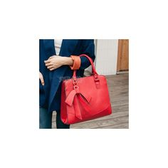 Bow-Accent Tote ($26) ❤ liked on Polyvore