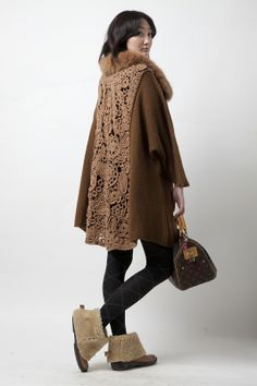 Beautiful Crochet Detail on the back of this coat!
