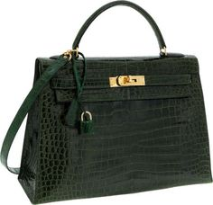 Hermes 32cm Shiny Vert Emerald Porosus Crocodile Sellier Kelly Bagwith Gold Hardware.