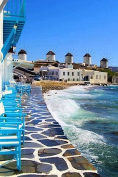 Mykonos, Greece (we had drinks outside in those blue chairs!)