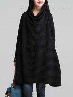 Ericdress Plain Heap Collar Loose Casual Dress 5