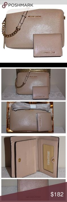 "Jet Set Crossbody & Card Holder Set Oyster * set style # 34H6GGFC7A * set UPC # 190049892176 * from a smoke-free home  Crossbody Details: * 100% Saffiano leather * 100% polyester lining * gold-toned hardware * 9.5""Lx2""Wx6.5""H * 5 adjustable lengths w/ 22""-25"" drop * interior has  1 slip pocket & 2 cellphone pockets * care card included  Cardholder Details: * same material as crossbody * 4 credit card slots, an ID window and 2 other card-type pockets * 4.25""Lx1.25""Wx3.75""H Michael Kors Bags…"