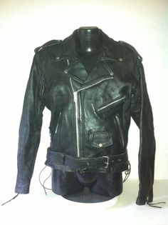 7f8e0ea1de15 UNIK USA Vintage mod Leather Motorcycle Biker by ClarksScoop
