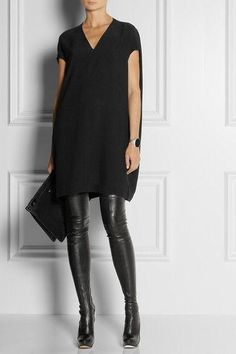 Leather leggings look awesome with a boyfriend shirt, chambray, an oversized jumper and some black boots, or a sweet loafer or stiletto for evening. It's a very clever cool-weather uniform that never dates. #womenswear #leather #pants #black #winter #style