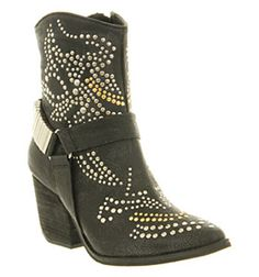 Jeffrey Campbell Shane Ankle Boot Black Leather - Ankle Boots
