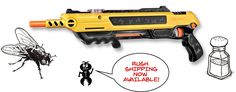 Fly problem? The Bug-A-Salt gun fires ordinary table salt to kill flies and other pesky insects. Experience the thrill of shooting the original salt gun to elim