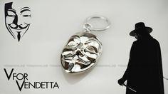 Брелок V Vendetta Гая Фокса серебро