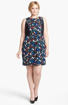 DKNYC Geo Print Crepe Sheath Dress (Plus Size) available at #Nordstrom