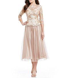 Alex Evenings Sequined Mock 2Piece TeaLength Dress #Dillards