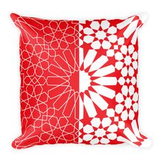 Moroccan Pattern 3 Red-White Square Pillow Case with Stuffing