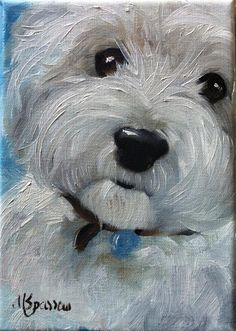 Perfect Stocking Stuffer for the Westie lover! I just finished a sweet little westie face on a miniature, table top size linen Canvas! Animal Paintings, Animal Drawings, Art Drawings, West Highland Terrier, White Terrier, Dog Portraits, Westies, Terriers, Terrier Mix