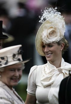 Zara Phillips Tindall,  with her grandmother Queen Elizabeth II in the foreground, at Ascot.