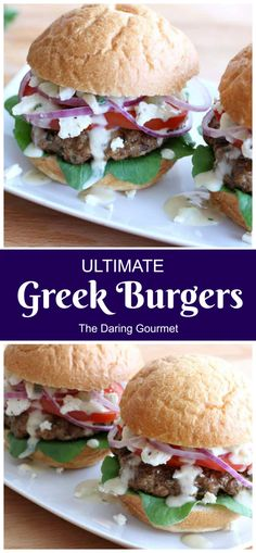 Ultimate Greek Burgers The amount of flavor these Greek Burgers pack is simply out of this world! Juicy, succulent and mega flavorful, these burgers are a total showstopper! Hamburger Recipes, Meat Recipes, Cooking Recipes, Barbecue Recipes, Cooking Tips, Food Tips, Salad Recipes, Side Dish Recipes, Side Dishes