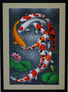 """9 KOI FISH SWIMMING UNIFORMLY 30"""" X 42"""" (FRAME INCLUDED) $ 179.99 SAVE $ 100"""