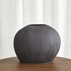 alura short dark grey oval ceramic vase | c&b