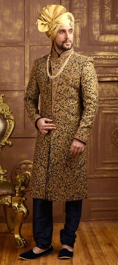 505835 Blue color family Sherwani in Brocade, Jacquard, Silk fabric with Machine Embroidery, Sequence, Stone, Thread, Zari work .
