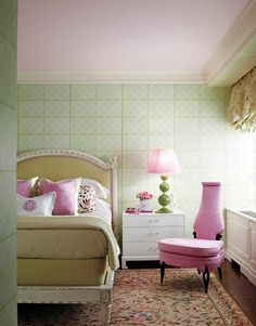 Regency Redux bedroom in soft pinks and greens by designer Jamie Drake.