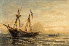 A Russian Barque Moored at Dusk - Aleksei Petrovich Bogolyubov
